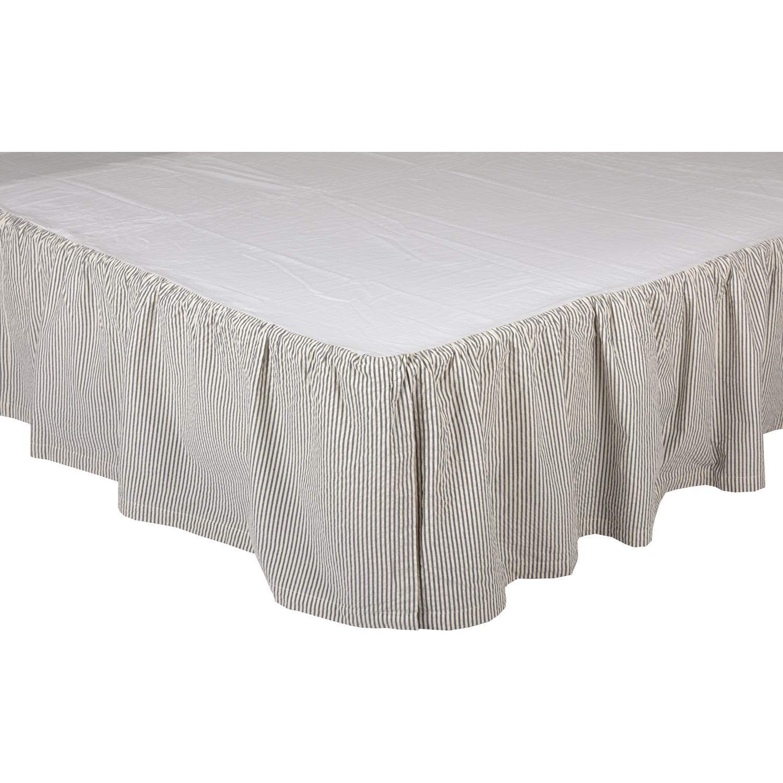 Hatteras Seersucker Blue Ticking Stripe Twin Bed Skirt 39x76x16