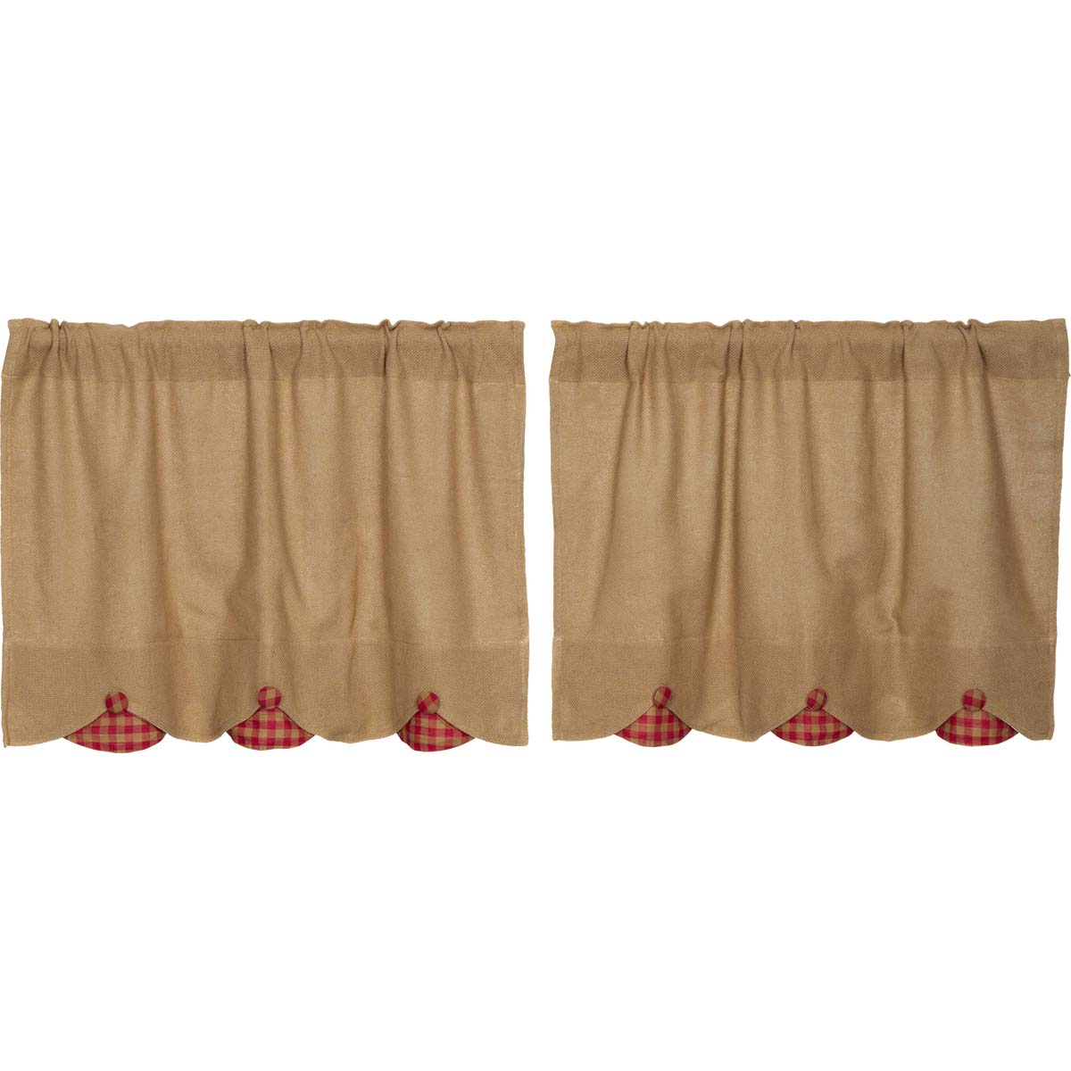 Burlap w/Red Check Scalloped Tier Set of 2 L24xW36