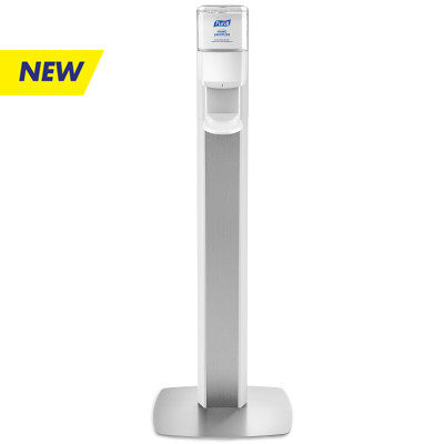 PURELL® MESSENGER™ ES8 Silver Panel Floor Stand with Dispenser