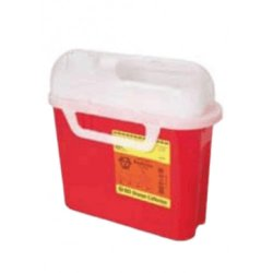 Becton Dickinson Sharps Container 1-Piece 10-3/4 H X 10-3/4 W X 4D Inch 5.4 Quart Red Horizontal Entry Lid, 305426 - EACH