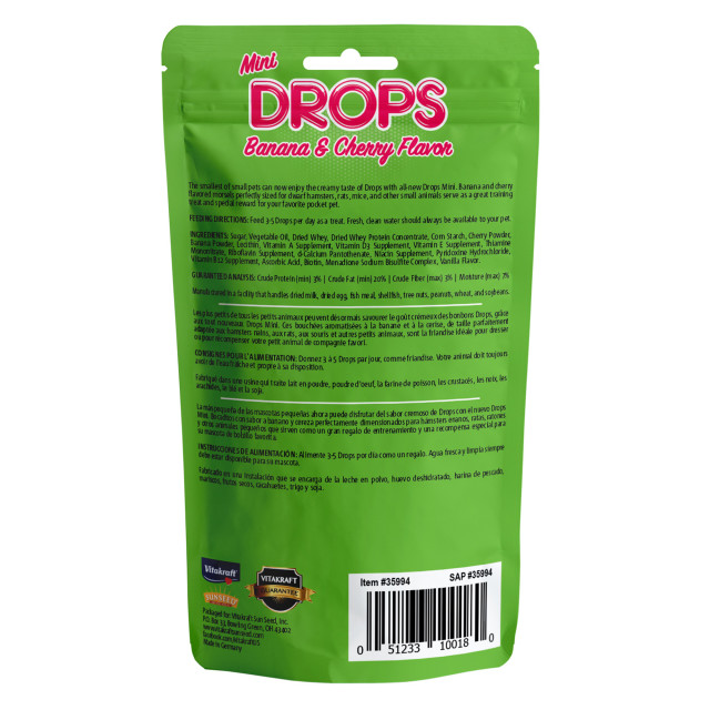 Back-Image showing Drops Mini Banana & Cherry Flavor