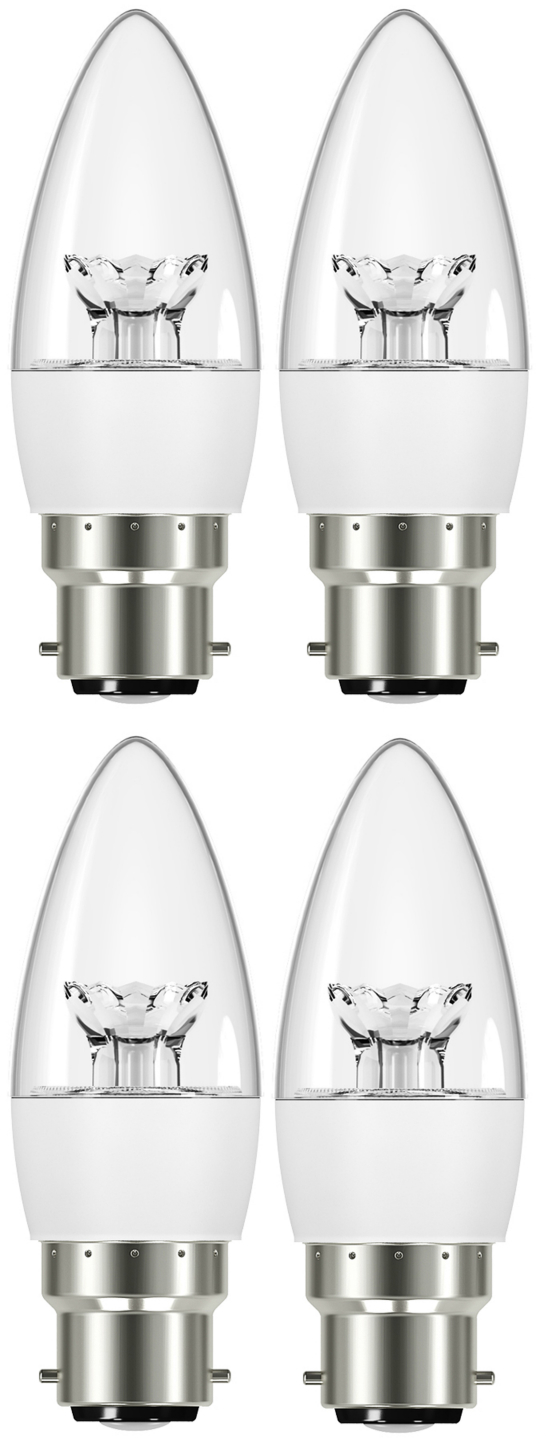 Cartridge Shop 4 Pack 5.9W B22 Bayonet LED Candle Bulb 280 Lumen (30W Equivalent) - Warm White Clear