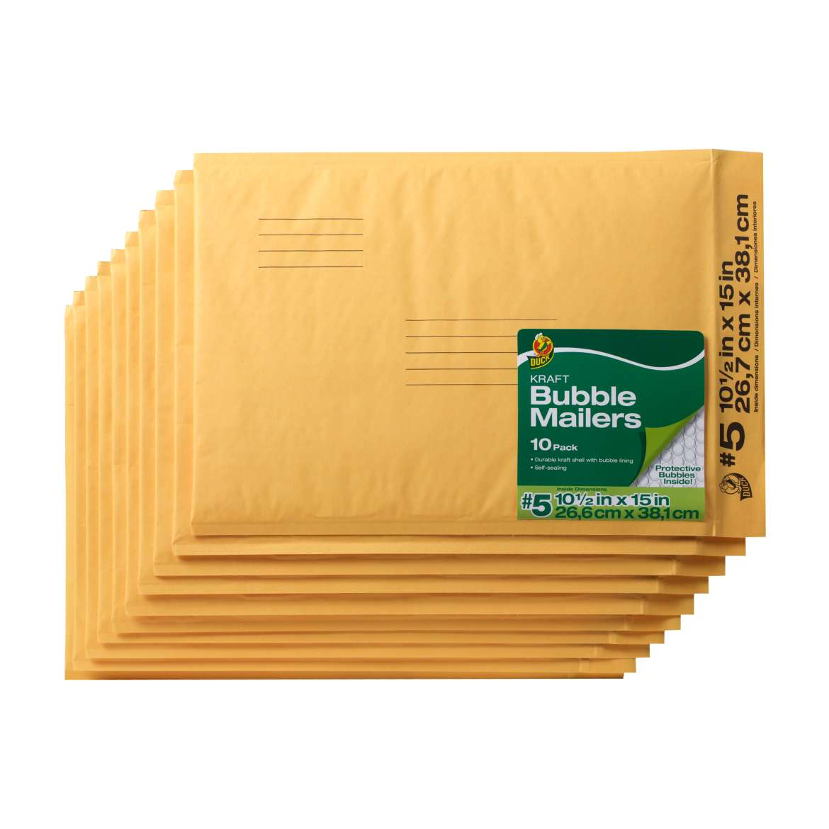 Duck® Brand Kraft Bubble Mailers - Manila, 10 pk, 10.5 in. x 15 in. Image