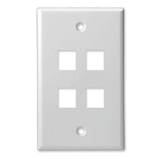 4Port White Keystone Wall Plate Wave Electronics