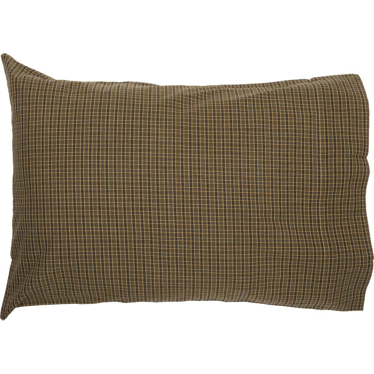 Tea Cabin Pillow Case Set of 2 Pillowcases King Standard Moss Green Plaid Cotton