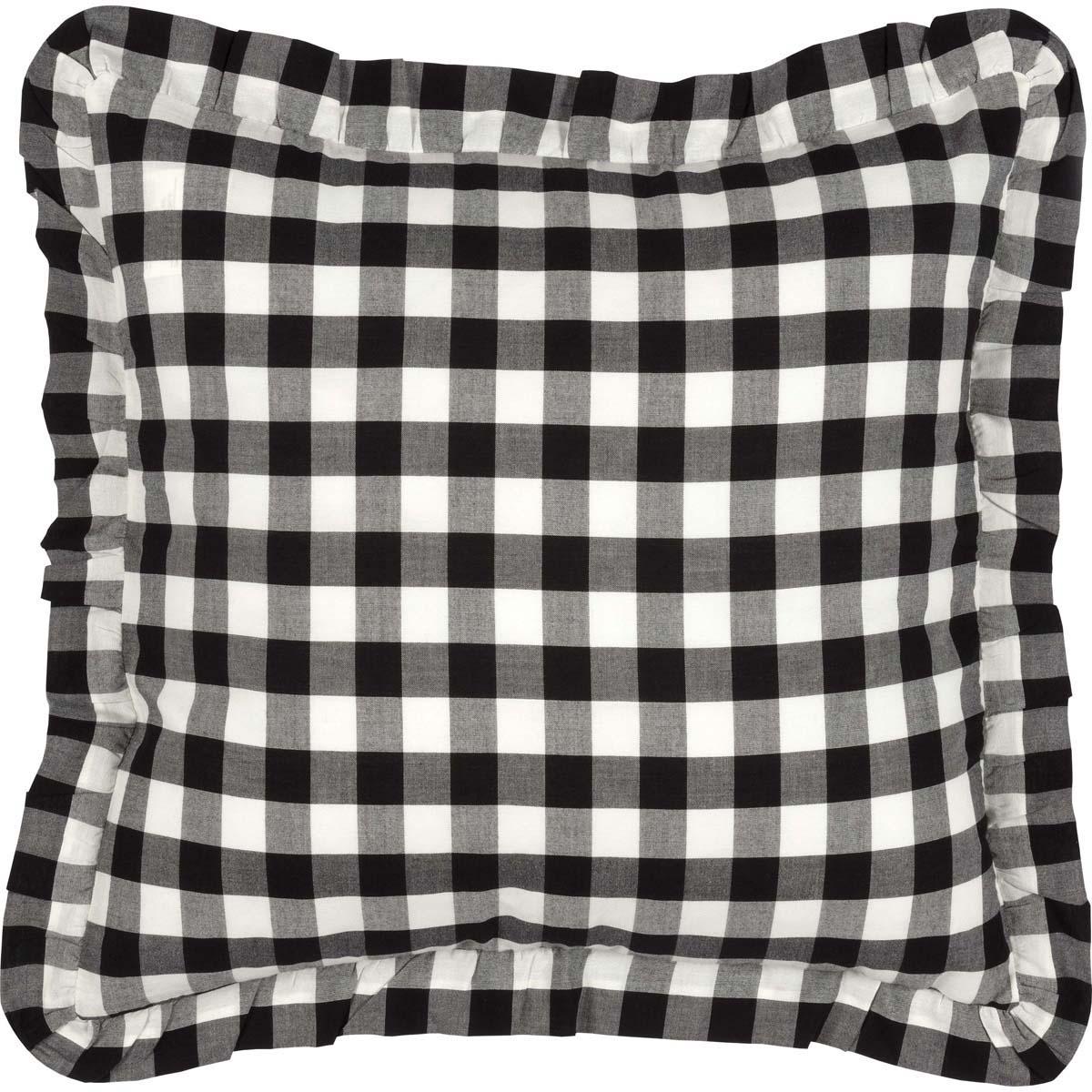 Annie Buffalo Black Check Ruffled Fabric Pillow 18x18