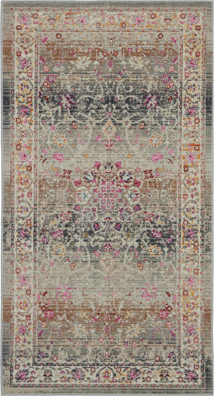 Nourison Vintage Kashan 2' X 4' Grey Multicolor Oushak Area Rug