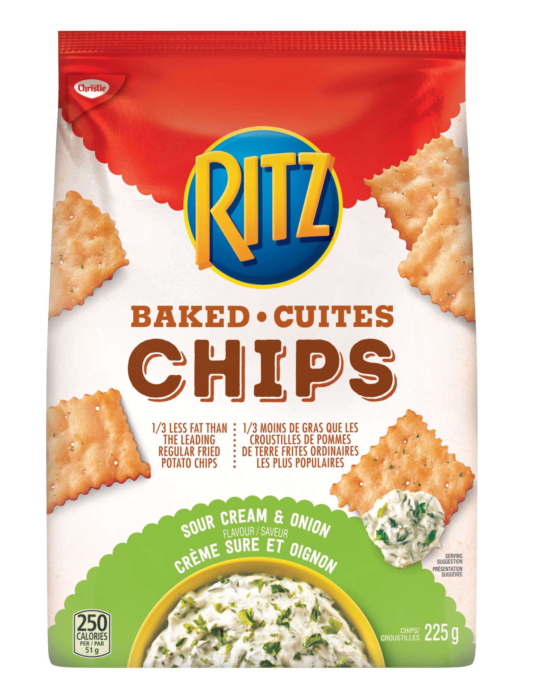 Ritz Ritz Chips Sour Cream And Onion Crackers 225 G