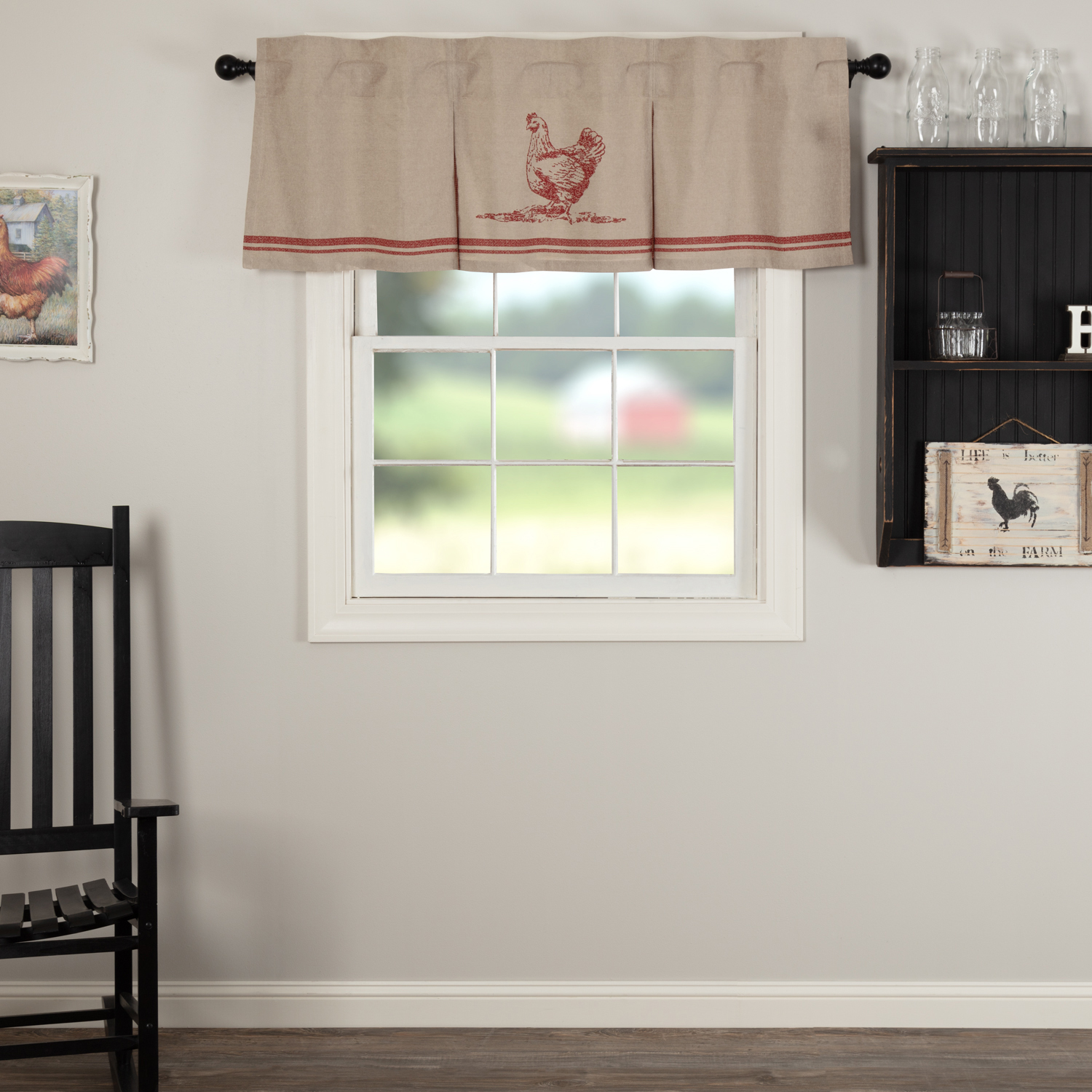 Sawyer Mill Red Chicken Valance Pleated 20x60