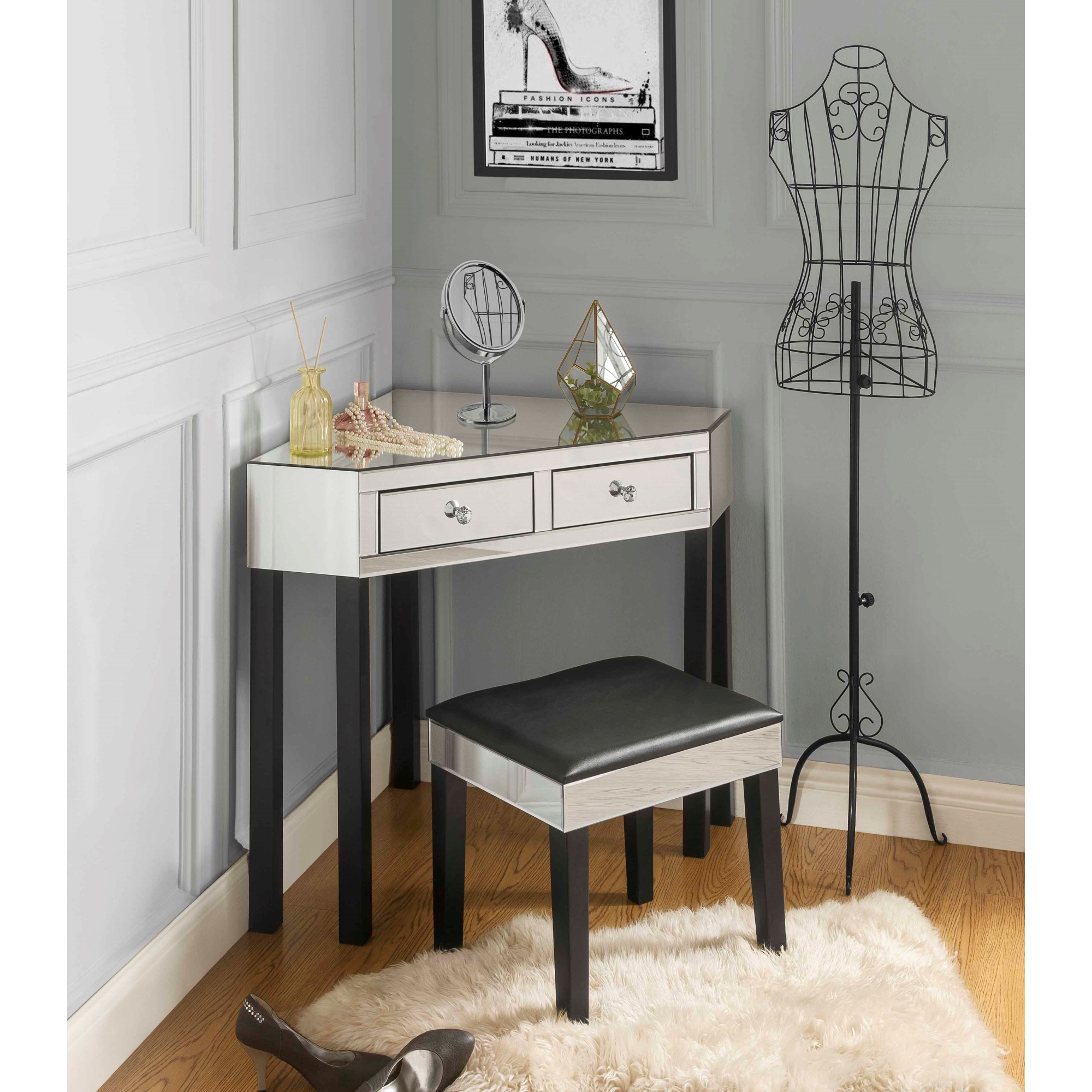 Inspired Home Black Jewelry Furniture 2 Drawers