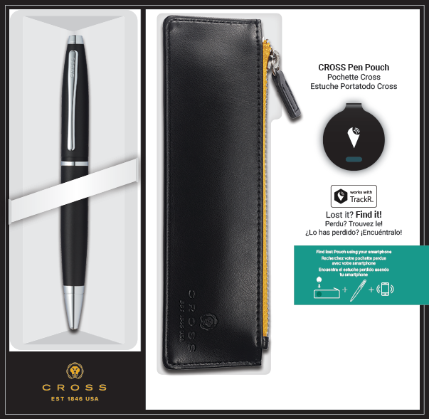 Matte Black Calais Ballpoint with Pen Pouch and TrackR bravo Gift Set