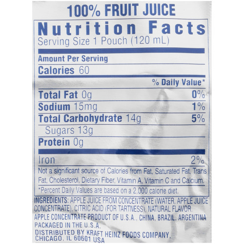 CAPRI SUN 100% Juice Apple Pouch, 6 oz. Pouches (Pack of 40)