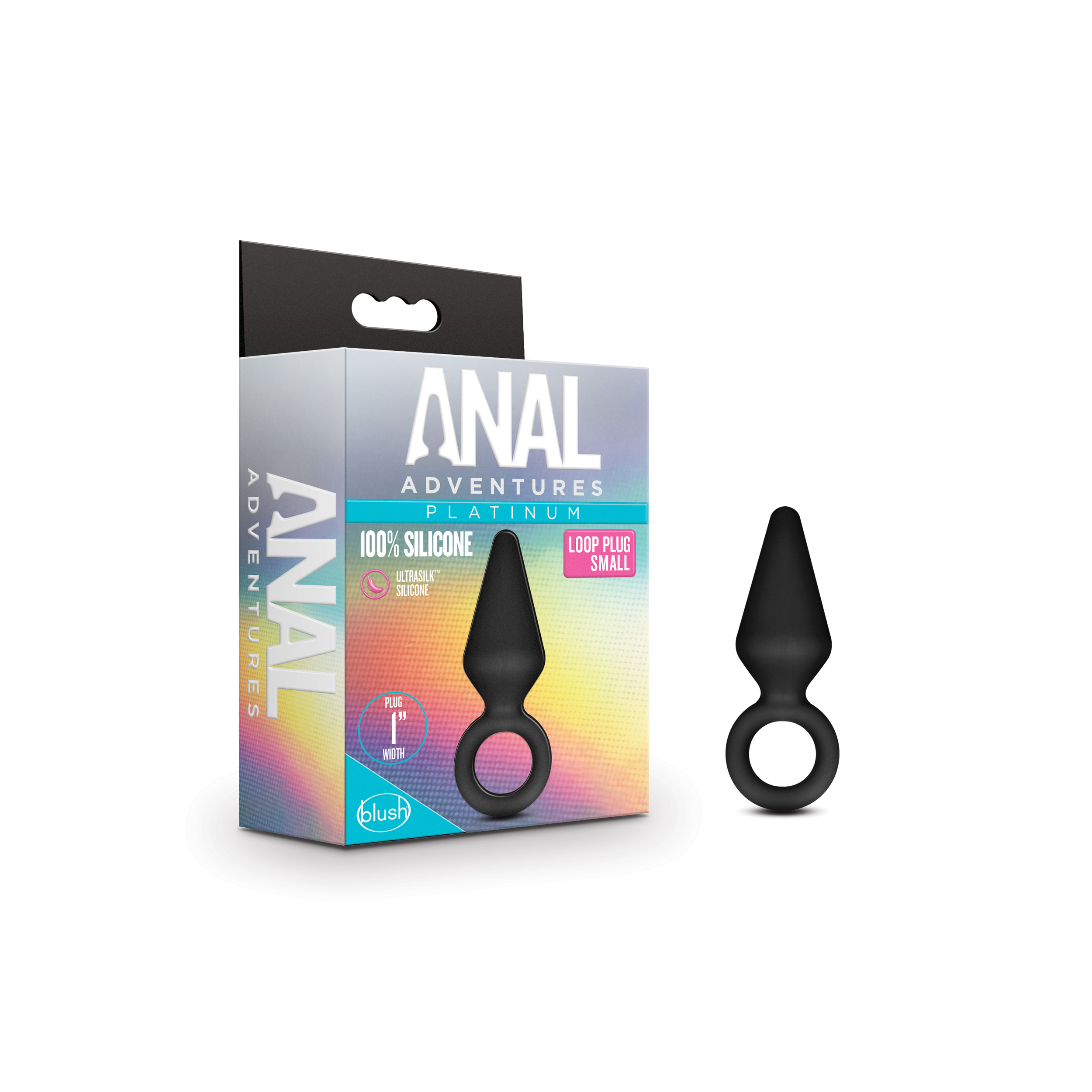 Anal Adventures Platinum - Silicone Loop Plug - Small - Black