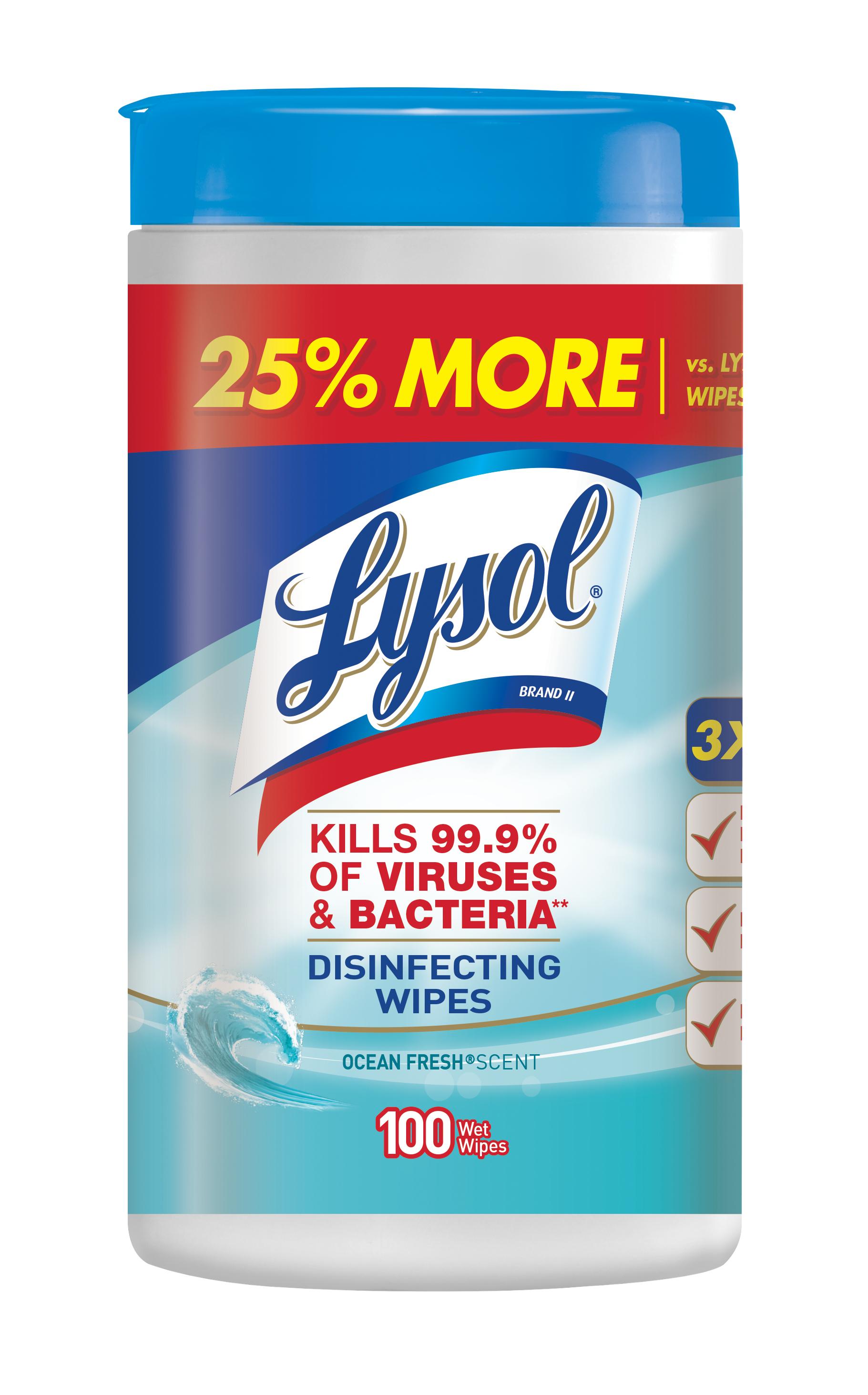 Lysol Disinfecting Wipes, Ocean Fresh, 100ct