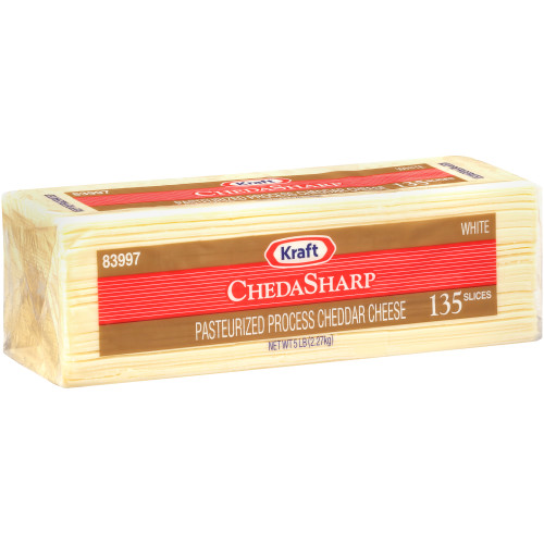 KRAFT ChedaSharp Sliced White Cheddar Cheese (135 Slices), 5 lb. (Pack of 4)