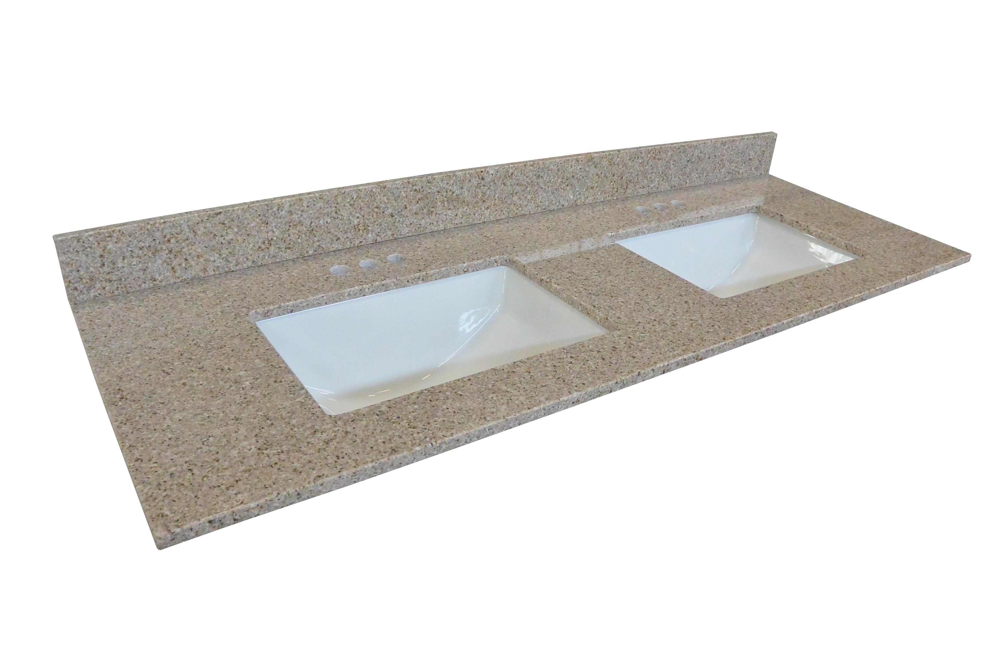 Granite Double Bowl Vanity Top : Double bowl granite vanity top quot golden sand