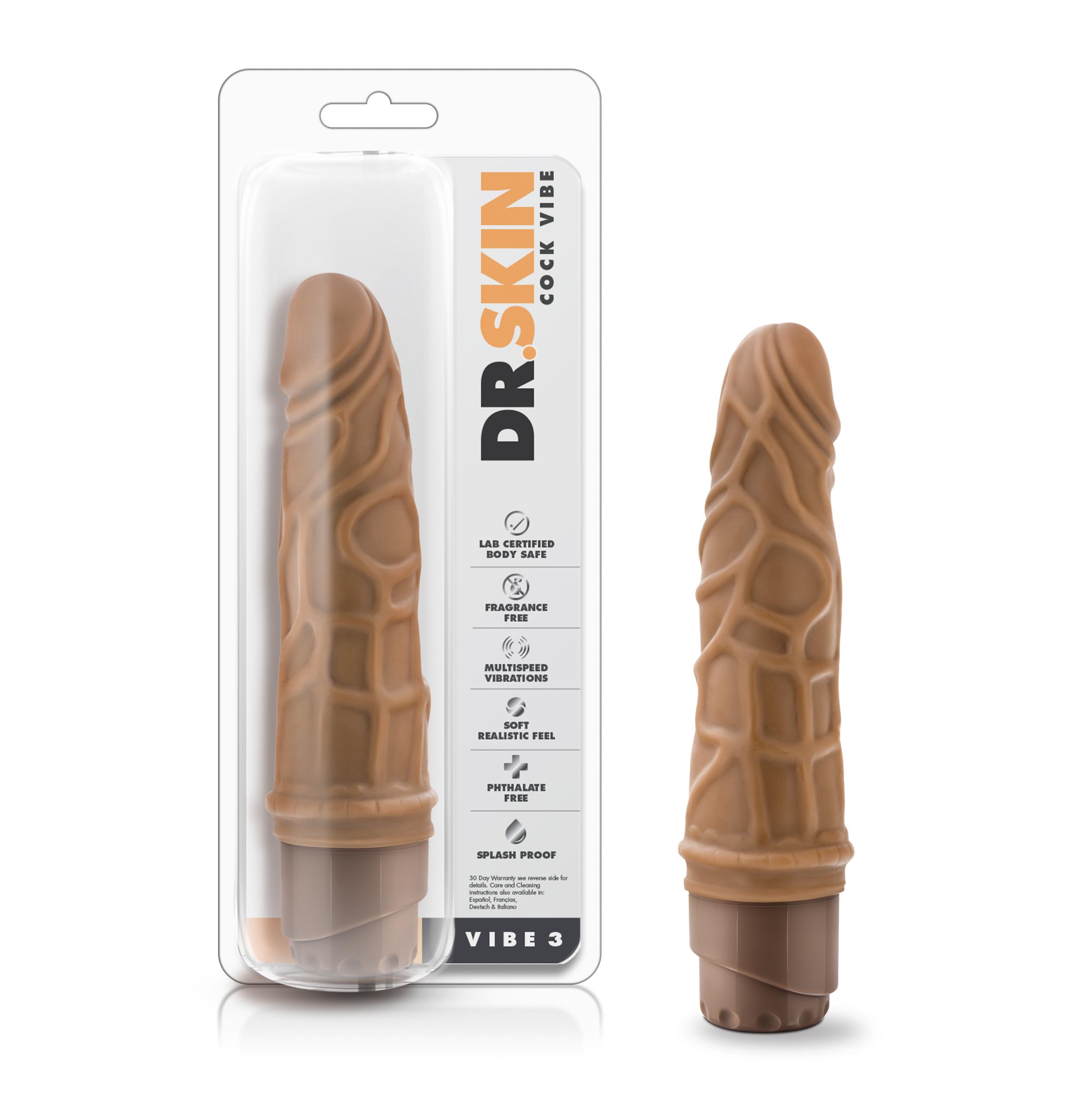 Dr. Skin - Cock Vibe 3 - 7.25 inch vibrating cock - Mocha