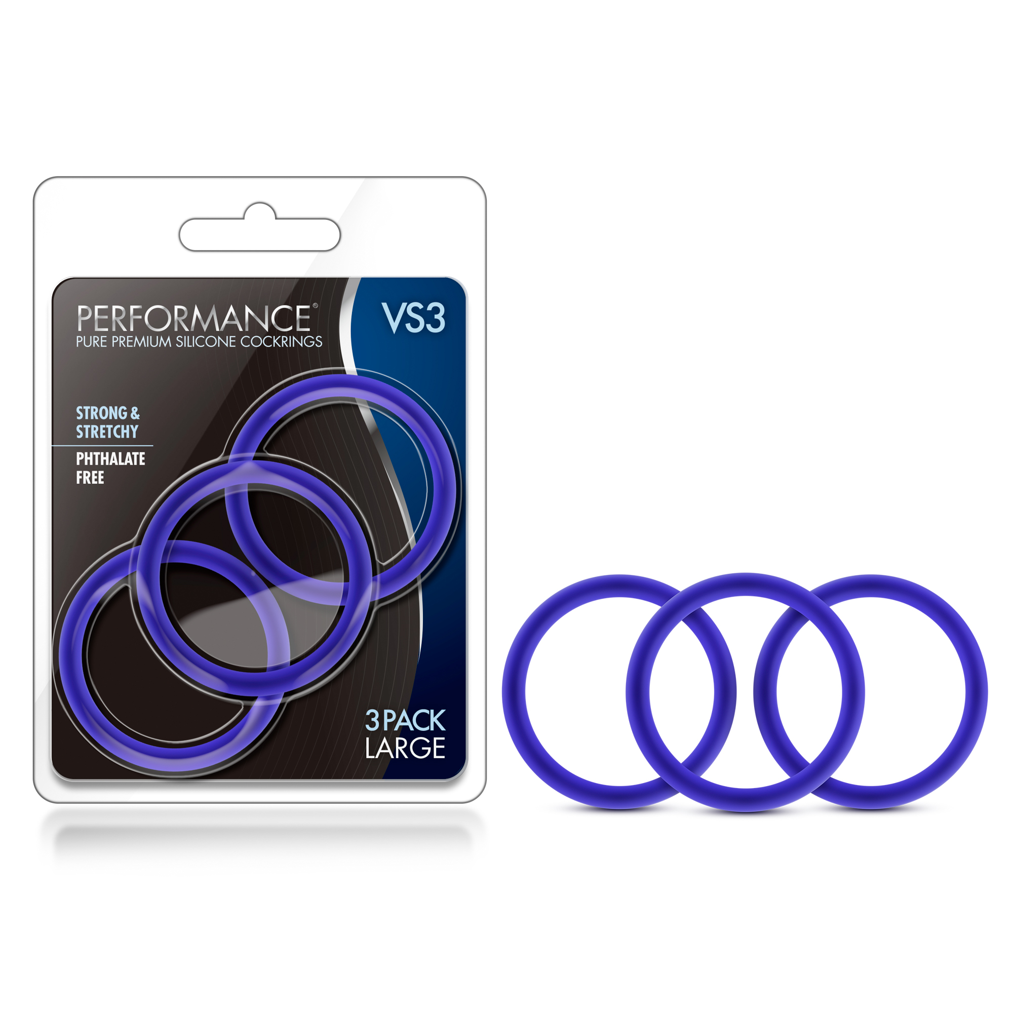 Performance - VS3 Pure Premium Silicone Cock Rings - Large - Indigo