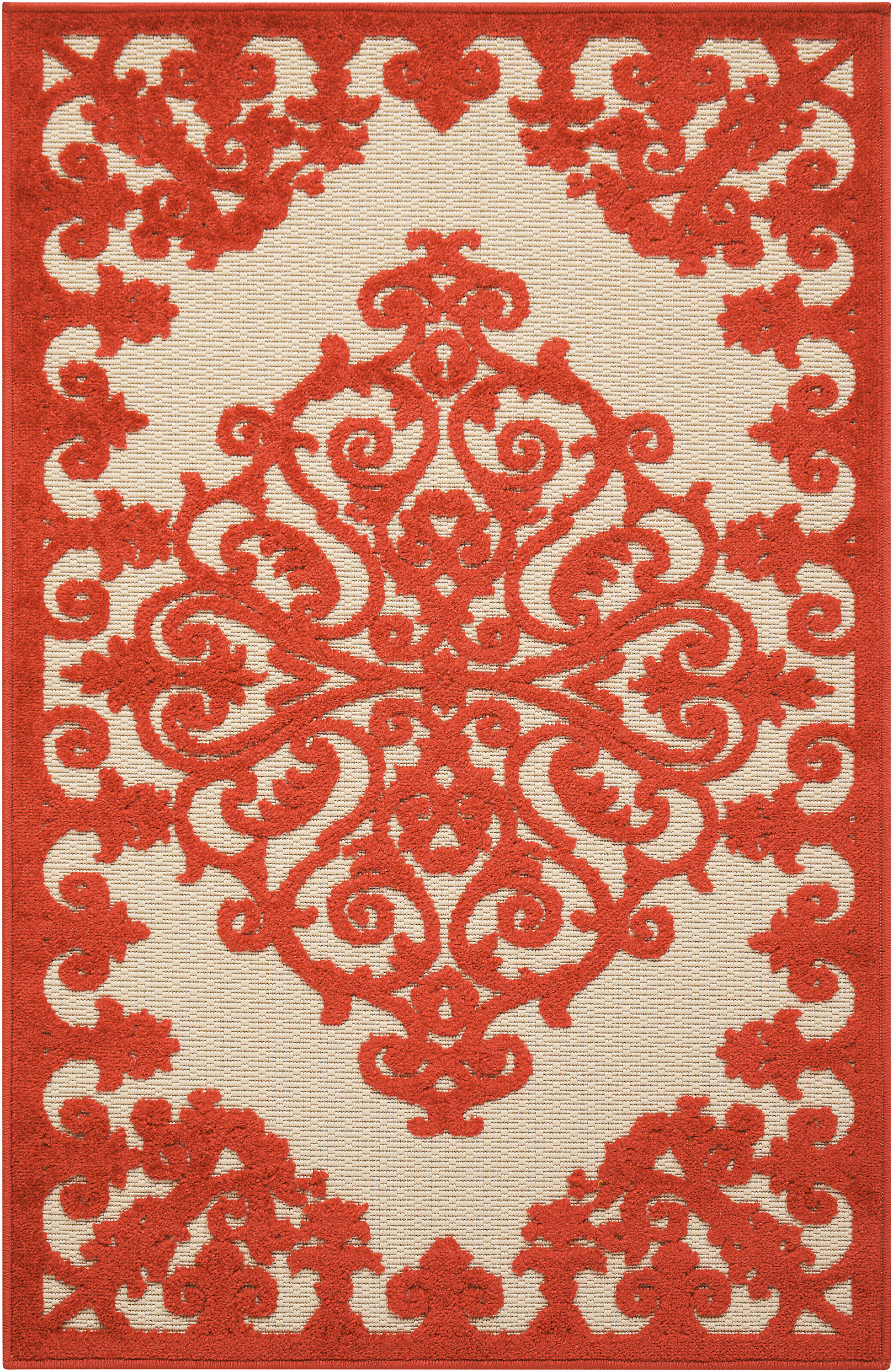 Nourison Aloha Alh12 Red And White 3'X4' Indoor-Outdoor Area Rug