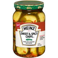 Heinz Sweet and Spicy Chips Pickles, 16 fl oz Jar