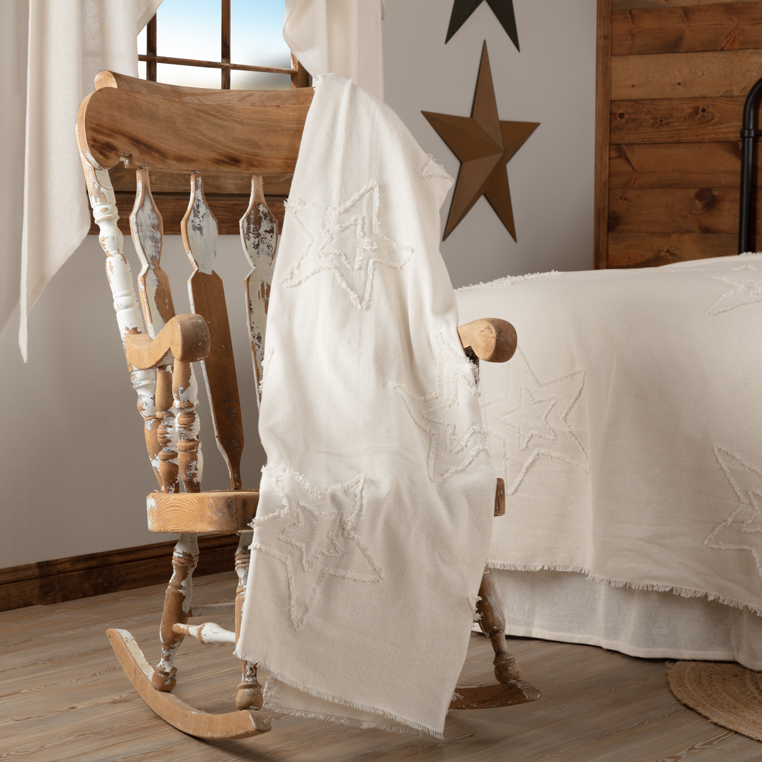 Burlap Antique White Star Woven Throw 60x50