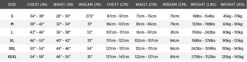 classic flotation coat sizing chart