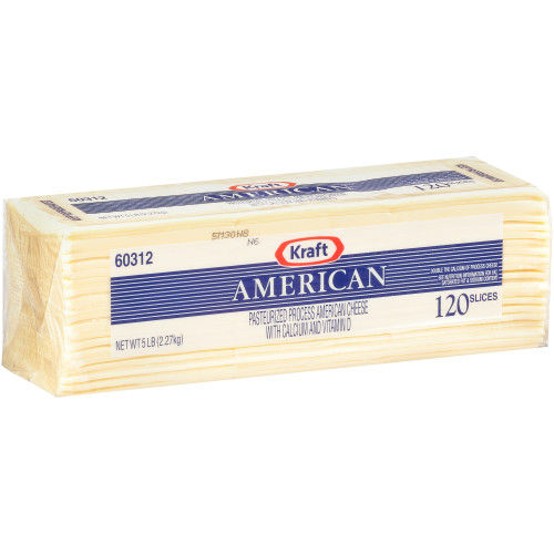 KRAFT American Sliced White Cheese (120 Slices), 5 lb. (Pack of 4)