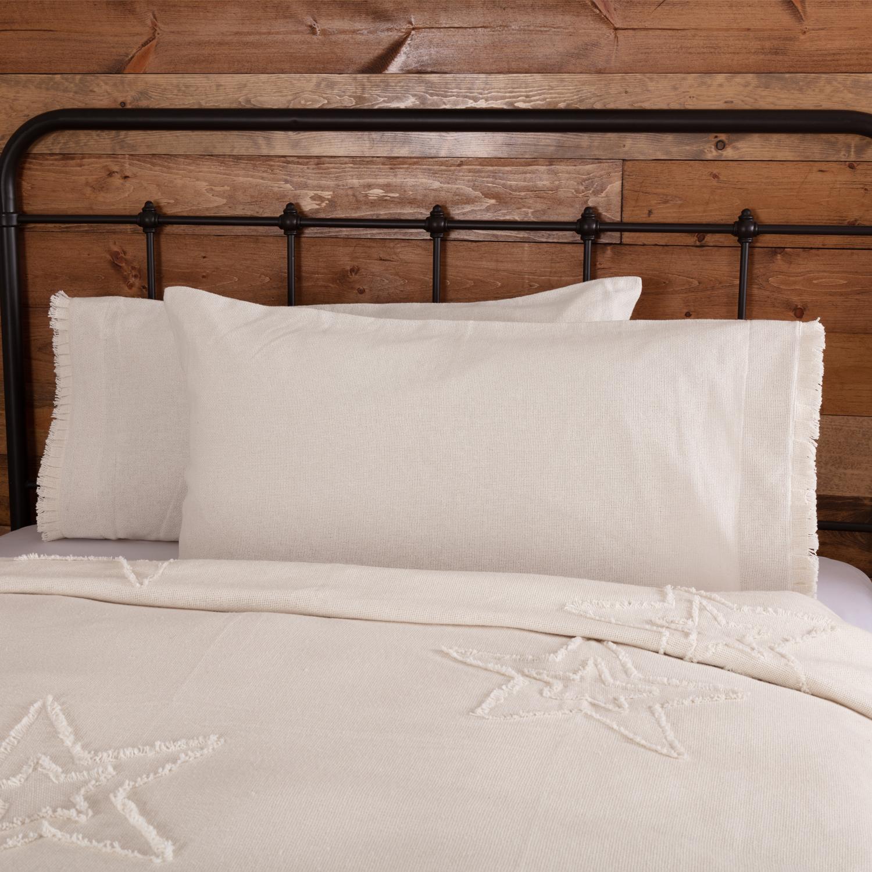 Burlap Antique White King Pillow Case w/ Fringed Ruffle Set of 2 21x40