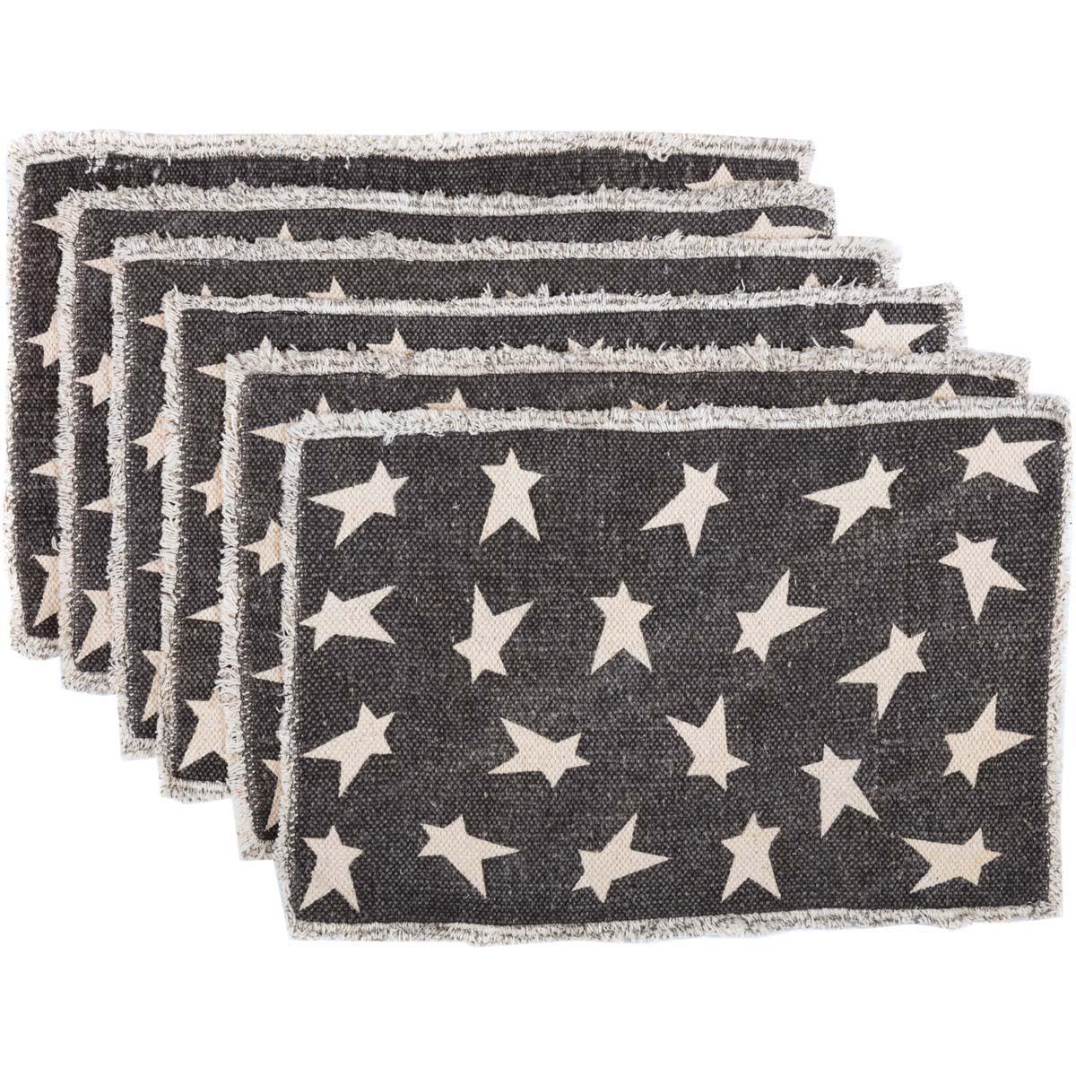 Black Primitive Star Placemat Set of 6 12x18