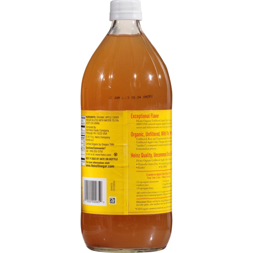 Heinz Organic Unfiltered Raw/Unpasteurized Apple Cider Vinegar 32 fl oz Bottle