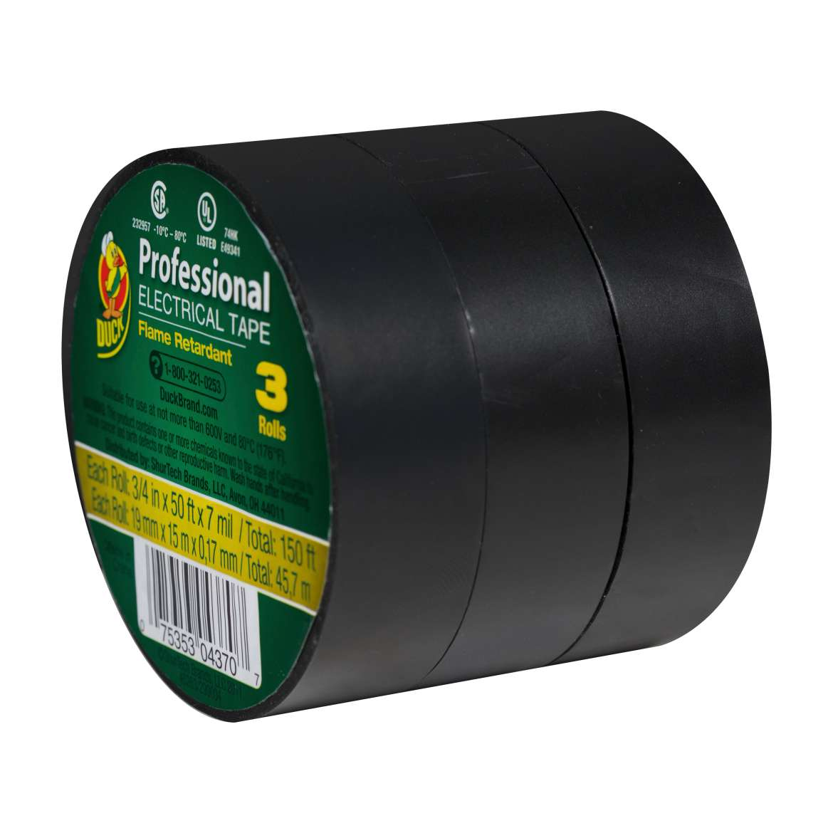 Duck® Brand Professional Electrical Tape - Black, 3 pk, .75 in. x 50 ft. x 7 mil. Image