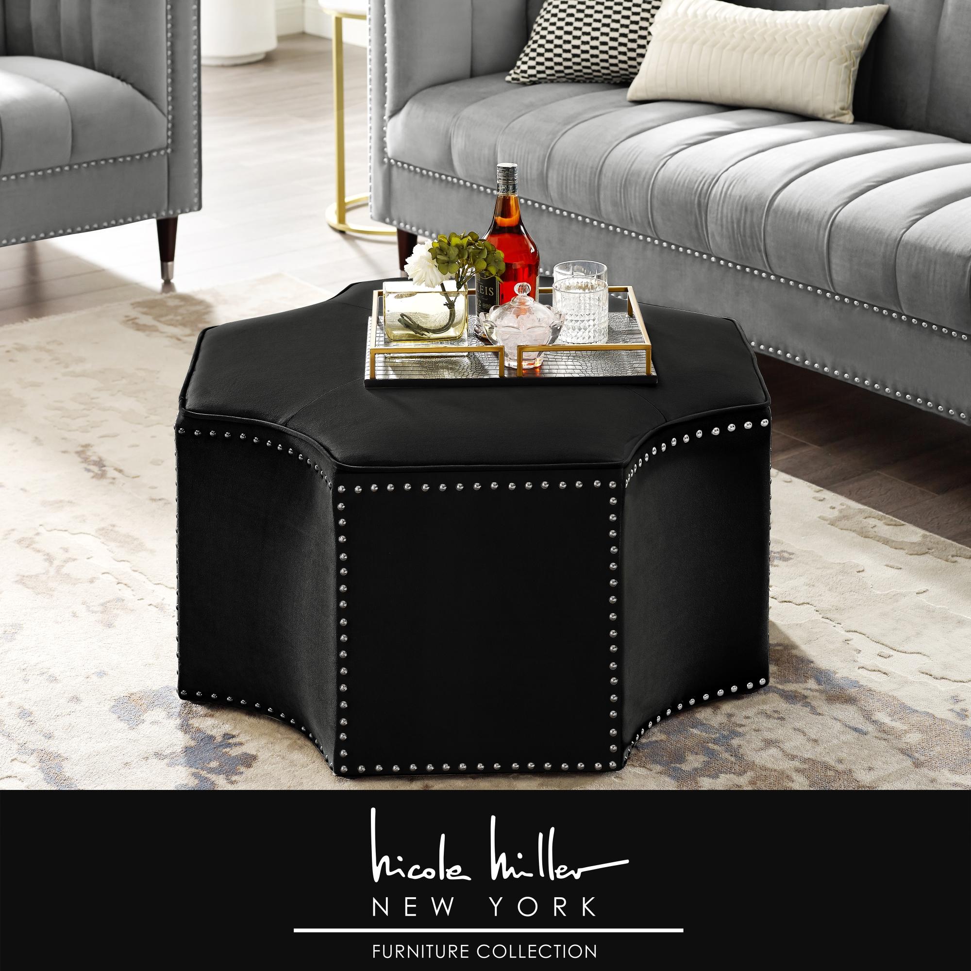 Nicole Miller Black Velvet/Chrome Velvet Cocktail Ottoman Upholstered Single Tuft