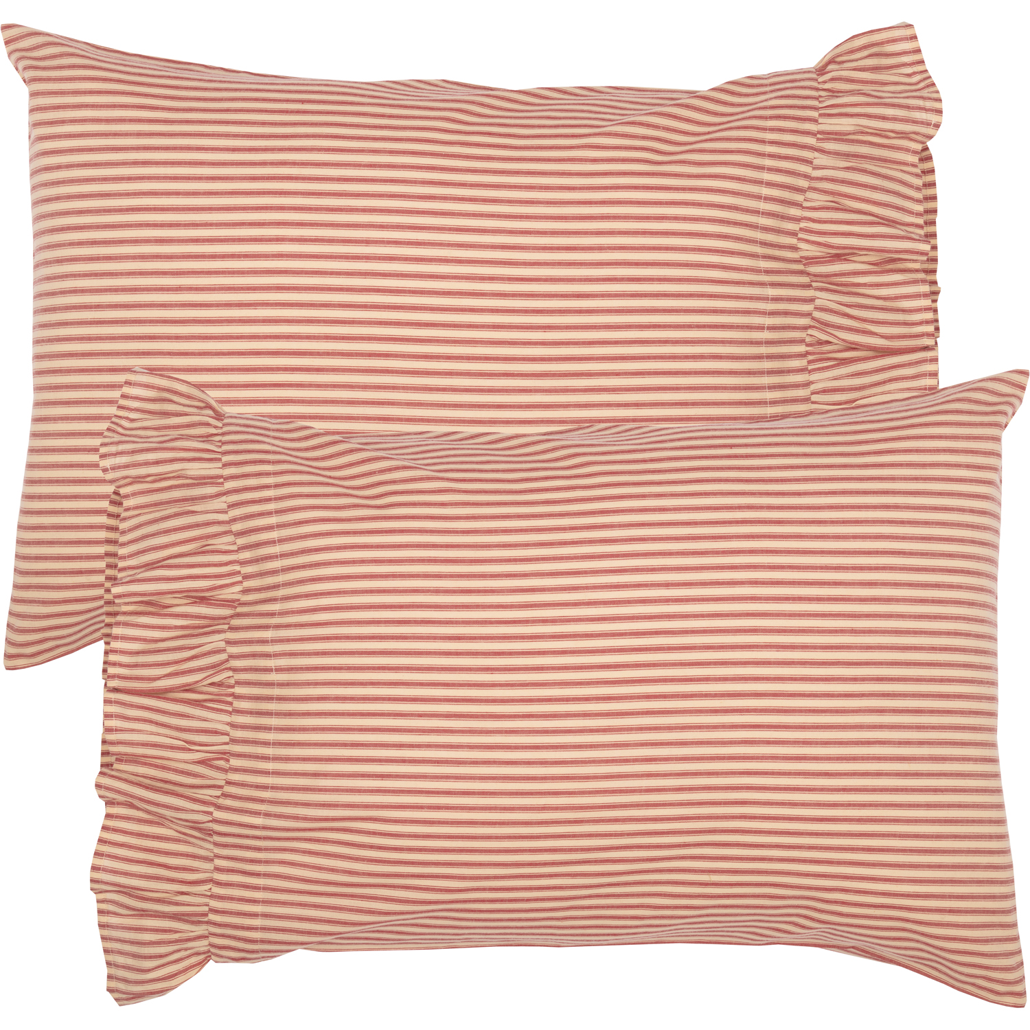Sawyer Mill Red Ticking Stripe Standard Pillow Case Set of 2 21x30