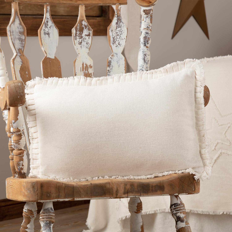 Burlap Antique White Pillow w/ Fringed Ruffle 14x22