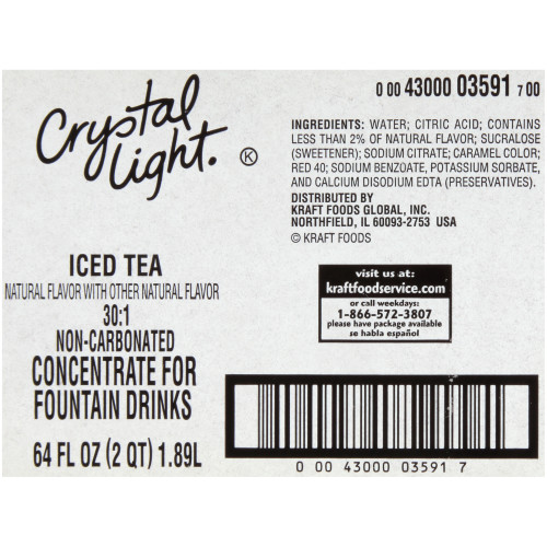 CRYSTAL LIGHT Lemon Iced Tea Bag-in-Box Liquid Concentrate, 64 oz. Bag