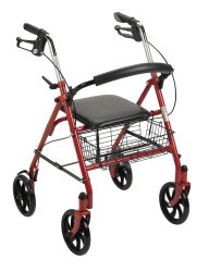 4 Wheel Rollator, McKesson, 31 to 37 Inch Red Folding Steel Frame 31 to 37 Inch, 146-10257RD-1 - EACH