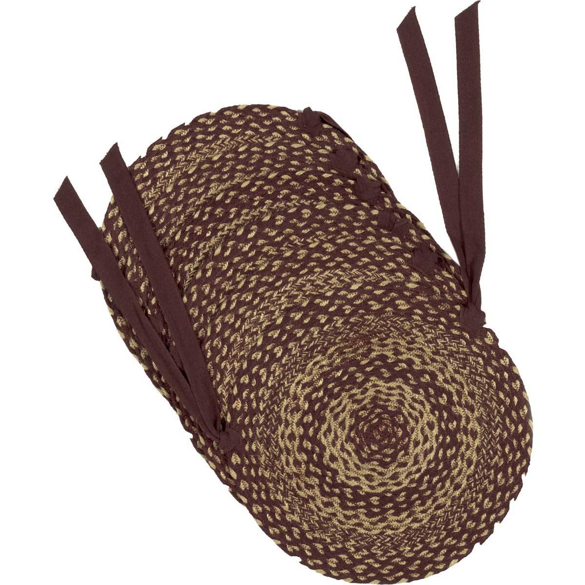 Burgundy Tan Jute Chair Pad Set of 6