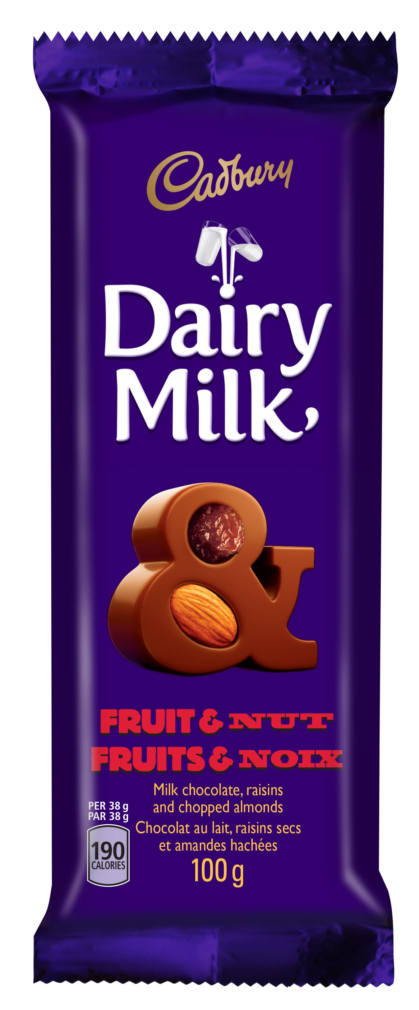 CADBURY DAIRY MILK  FRUITS ET NOIX 100 GRM