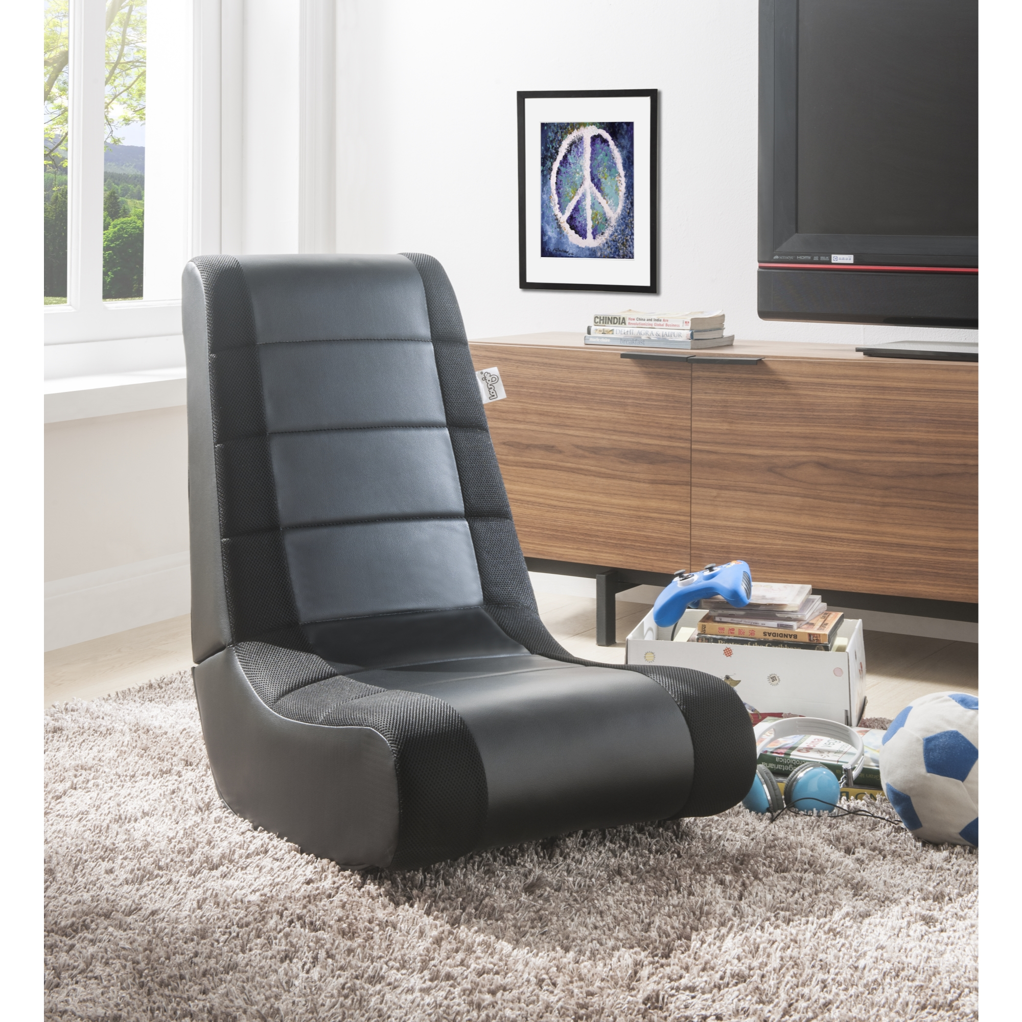 Loungie Black/Black PU Leather Chair For Kids, Teens, Adults, Boys Or Girls