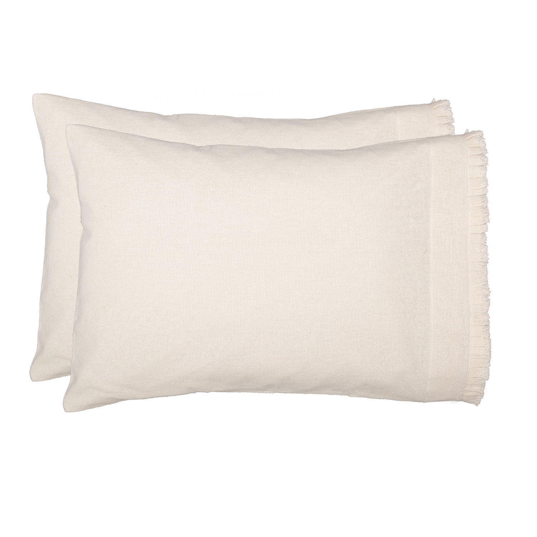 Burlap Antique White Standard Pillow Case w/ Fringed Ruffle Set of 2 21x30