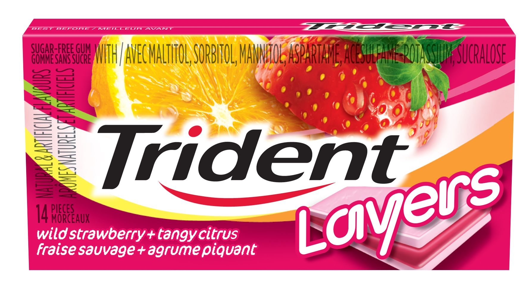 Trident Layers Wild Strawberry/Tangy Citrus Gum 14 Count