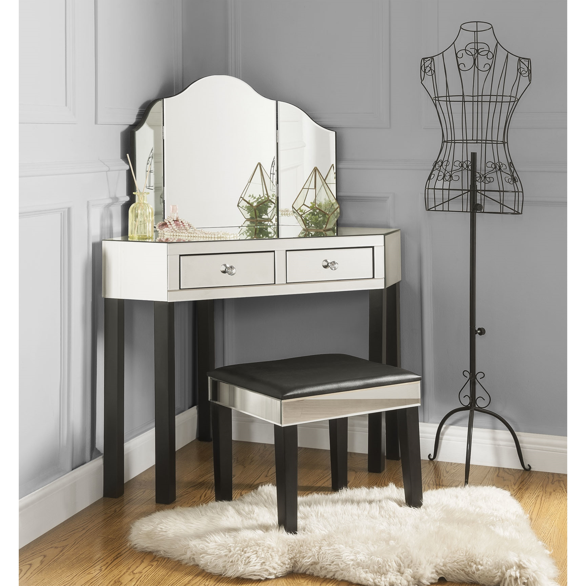 Inspired Home Black Jewelry Furniture Trifold Mirror 2 Drawers