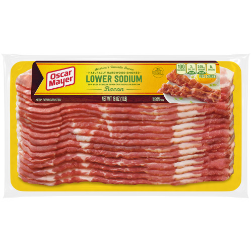 Oscar Mayer Naturally Hardwood Smoked Lower Sodium Bacon, 16 oz