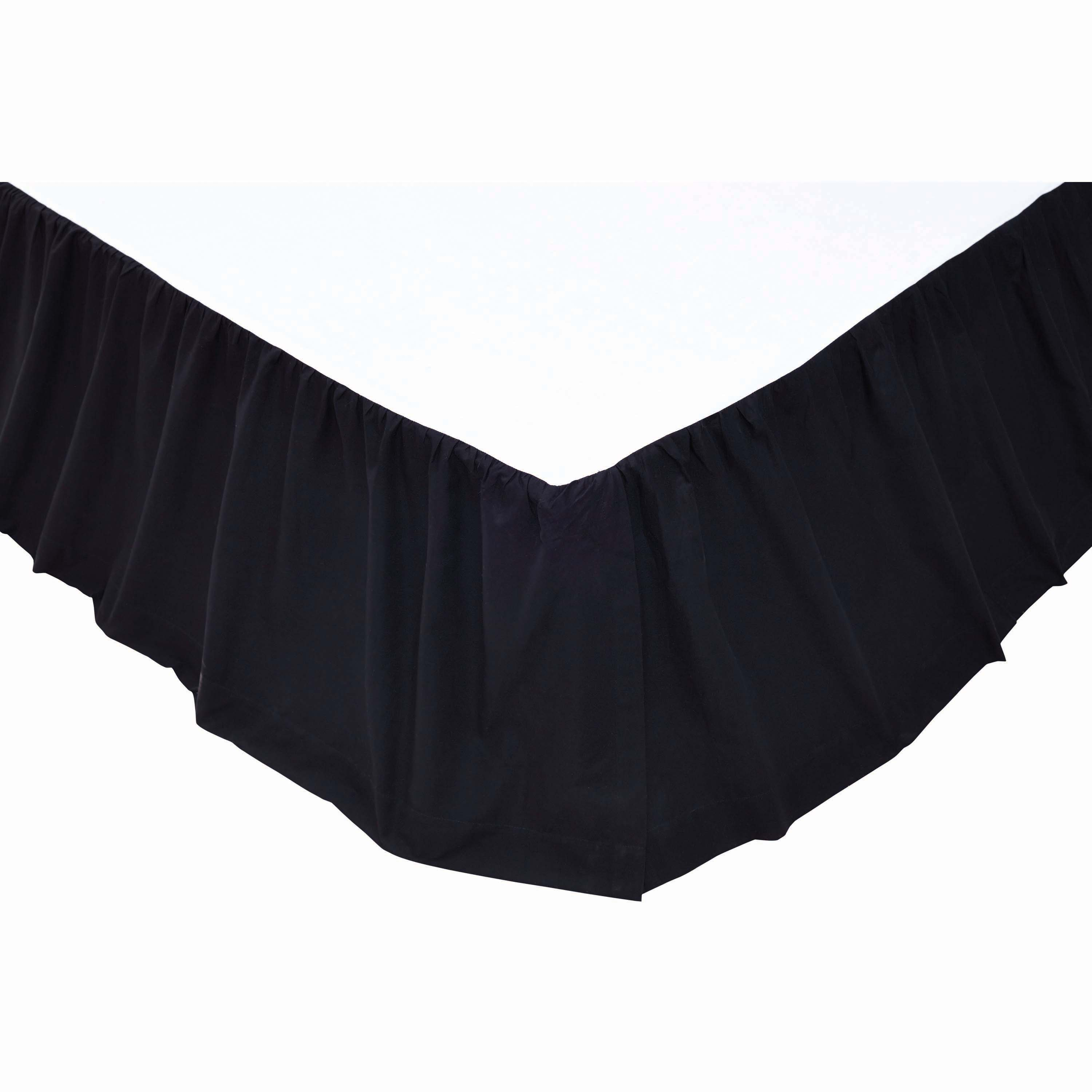 Solid Black Twin Bed Skirt 39x76x16