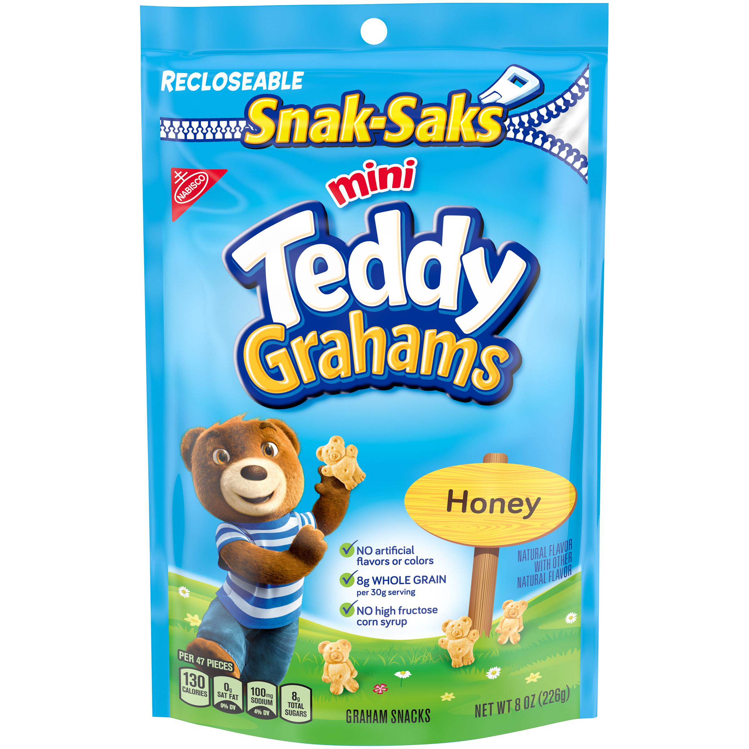 TEDDY GRAHAMS Honey Graham Lunchbox Cookies Snak Saks 8 oz