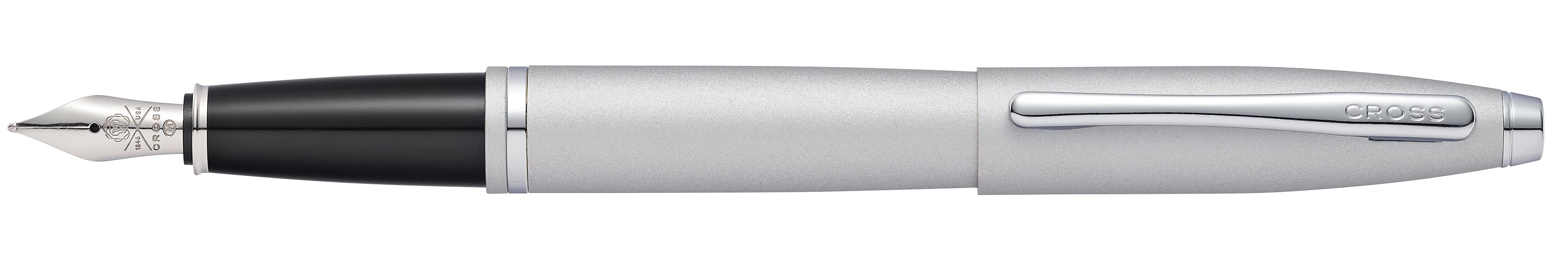 Calais Satin Chrome Fountain Pen - Medium Nib - self-server packageing