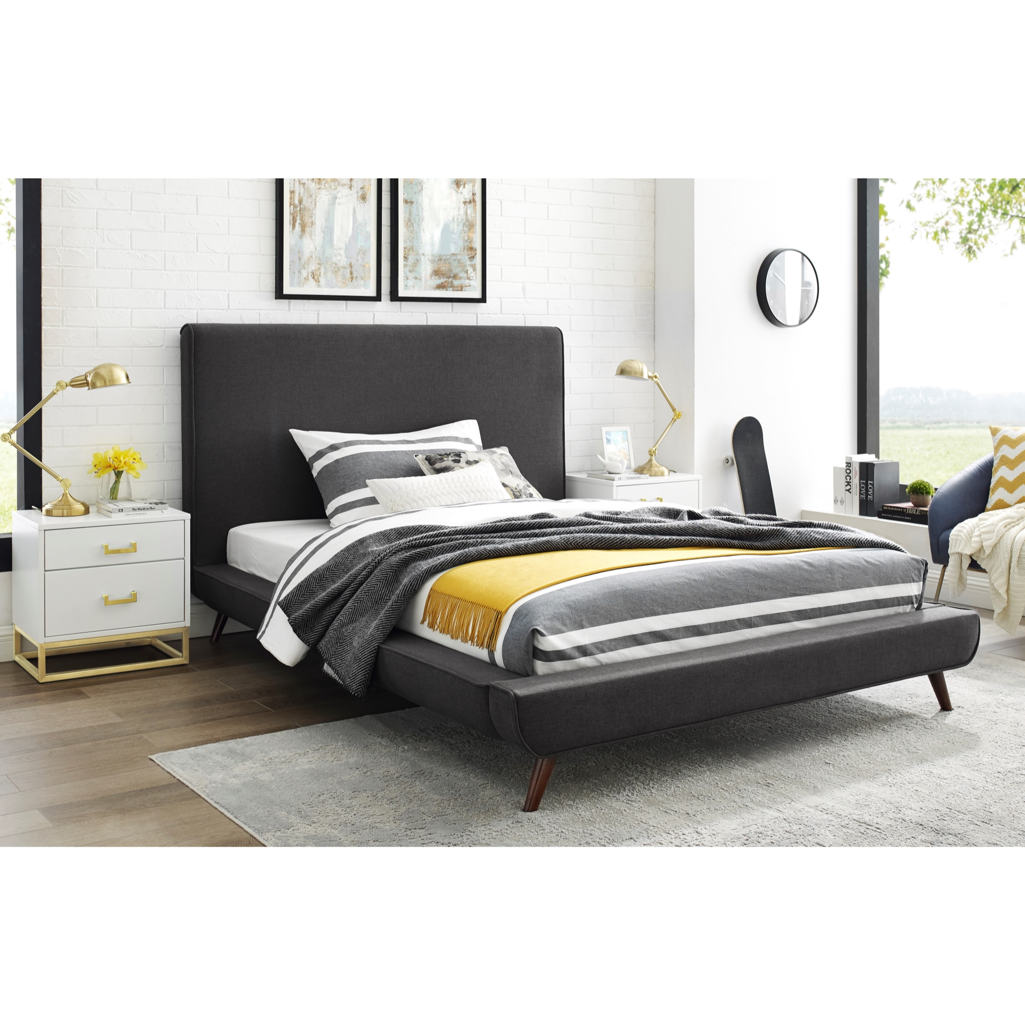 Loft Lyfe Charcoal Linen Bed Upholstered Walnut Tapered Legs