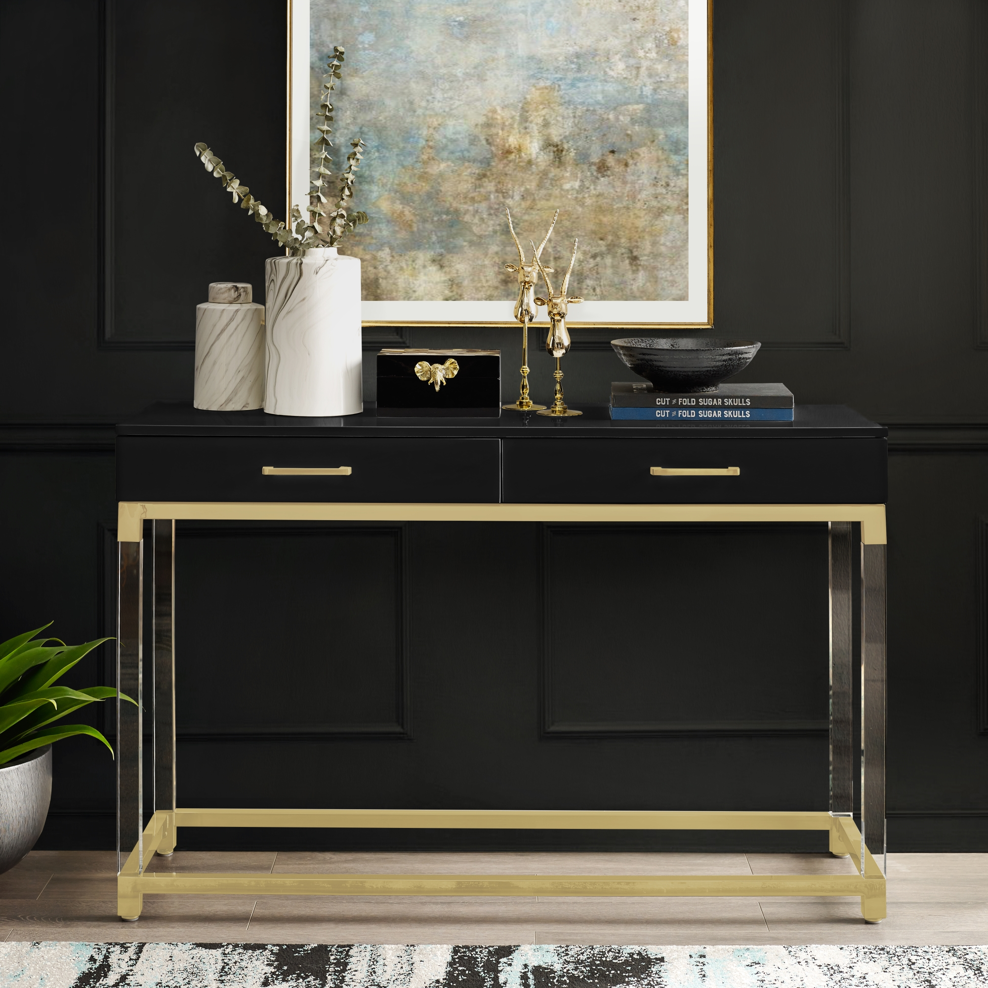 Inspired Home Black/Gold Console Table High Gloss Finish Acrylic Leg, Stainless Steel Base