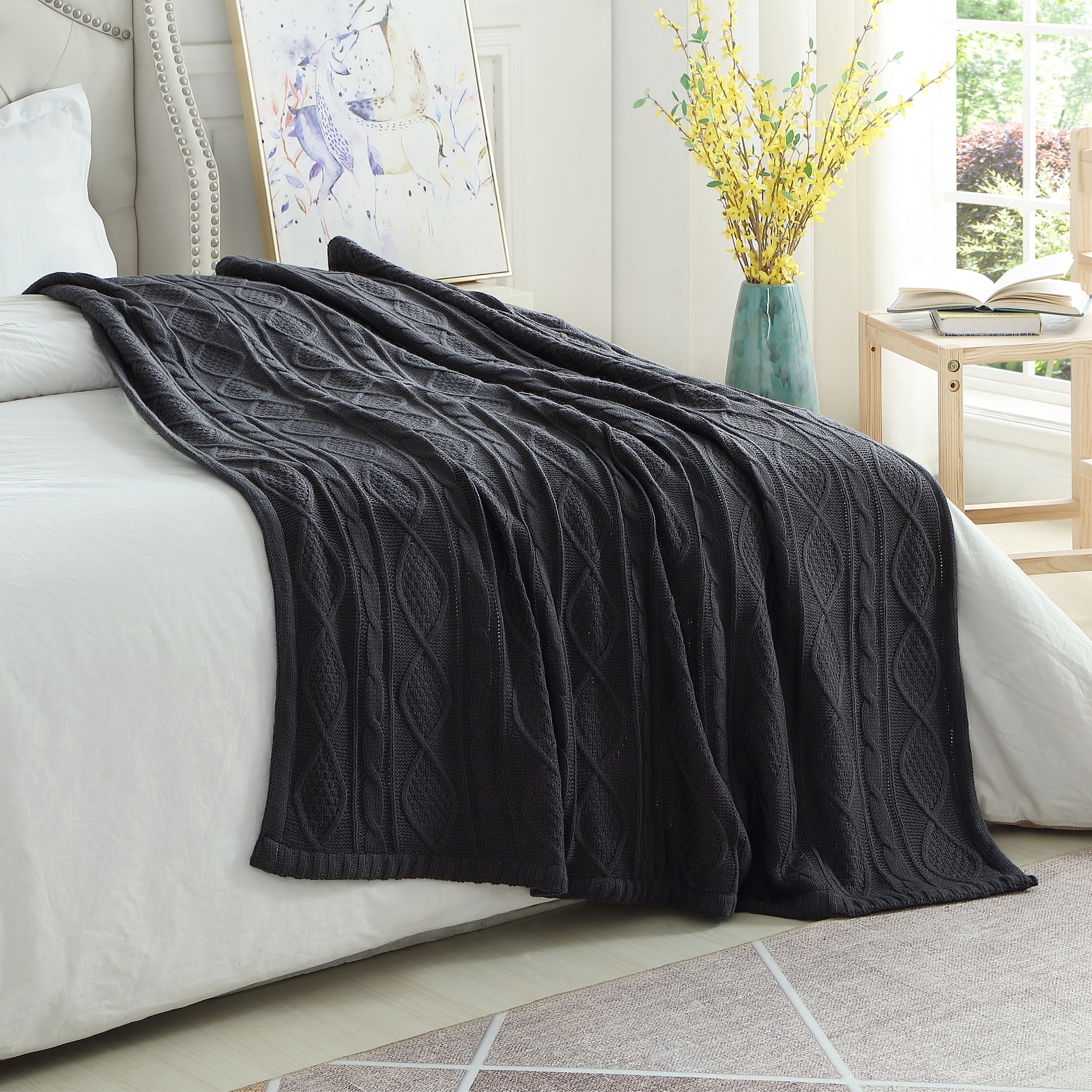 Cozy Tyme Dark Grey Front: 100% Acrylic, Back: 100% Polyester Throw Reverse Faux Rabbit Fur Cozy