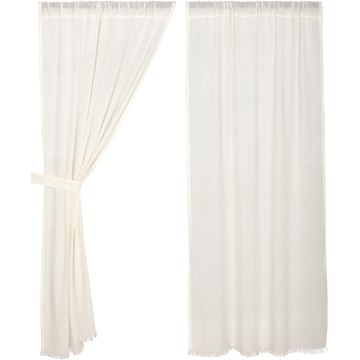 Tobacco Cloth Antique White Short Panel Fringed Set of 2 63x36